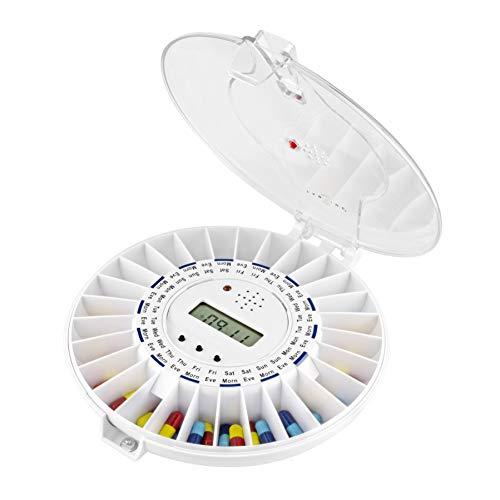 TabTime Medelert Dispensador de pastillas electrónico, hasta 6 alarmas al día. Las instrucciones y los discos están en español. Tapa transparente bloqueable. Una herramienta imprescindible que ayuda las personas mayores y las que sufren de las enfermedades de Alzheimer o demencia a tomar sus medicinas a tiempo