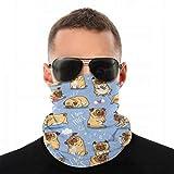 Cute Funny Pug Neck Gaiter Face Mask Sports Bandana Balaclava Headwear Scarf Headband for Women and Men