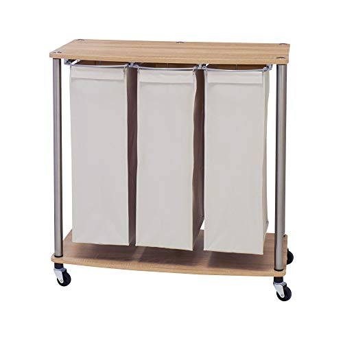 Household Essentials 7050-1 3 Bag Cart | Light Brown Triple Laundry Sorter with Folding Table, Walnut