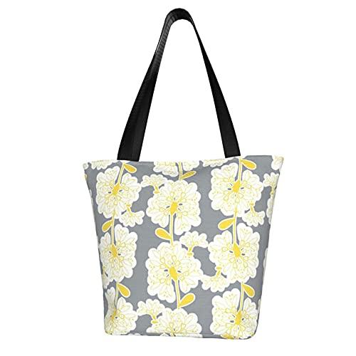 Scandi Flower Vines Bianco Giallo Su Grigio Cavas Tote Bag riutilizzabile Eco Friendly Shopping Bag Per Le Donne Borsa A Spalla Di Immagazzinaggio Poliestere Beach Bag Book Bag