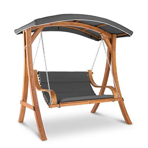 blumfeldt Tahiti Hollywoodschaukel aus Lärche-Massivholz lasiert, Garden Edition, 4 cm Sitzpolster, stabile Konstruktion, bis zu 240 kg belastbar, Sonnendach, 110 x 90 cm große Sitzfläche, Holz/Grau
