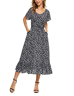 """MATERIAL: 100% Rayon. WITHOUT ANY ELASTIC, but womens dress is made of soft and lightweight fabric, which is friendly to the skin and very comfortable to wear. The model is 5'67 tall with bust 35.43"""", waist 23.62"""", hips 36.61"""", size M fits nice. Plea..."""
