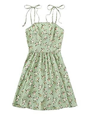 Spaghetti strap, tie knot, sleeveless, casual summer mini slip dress Floral print, backless, shirred, high waist short cami dress Suitable for home, beach, dating, holiday, party and daily casual Please refer to size guide carefully before purchasing...