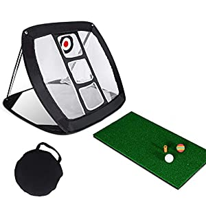 ⛳【Premium Quality Material】: The golf net has durable spring steel frame, which has good elasticity and can be folded for many times. The mesh material is nylon net with 300D canvas, which is stronger and wear-resistant ⛳【Wide Application】The golf ch...