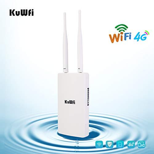 4G Router LTE, KuWFi 150Mbps CAT4 3G 4G LTE Router con slot per schede SIM Funziona con telecamera IP o copertura WiFi esterna con antenna 2pcs Funziona con 3 (Tre) / TIM/Wind/Vodafone SIM Card