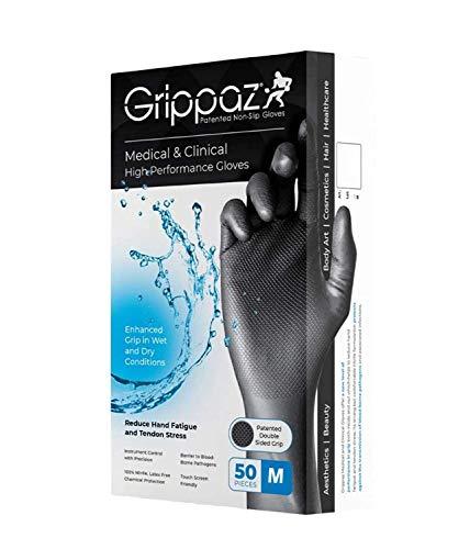 GrippazTM - Confezione da 50 guanti clinici usa e getta, in nitrile, colore nero, medico e clinico...