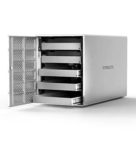 Yottamaster Aluminum Alloy 5 Bay USB3.0 2.5'/3.5' External Hard Drive RAID Enclosure for 2.5/3.5 Inch SATA HDD Support 5 x 16TB & UASP -Silver