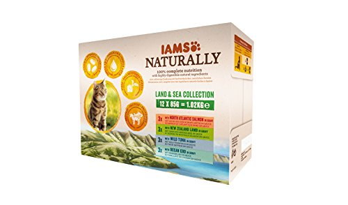 IAMS Naturally Land & Sea Collection in Sauce – Vollwertiges Nassfutter für...