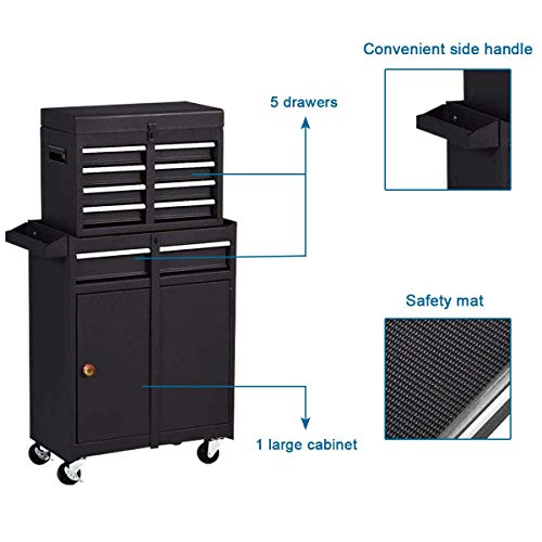 Product Image 6: Compact Tool Box Chest Combo 5 Drawer Mechanic Tool Box Small Heavy Duty Rolling Tool Chest on Wheels Tool Cabinet Organizer with Lockable Drawers Tool Chest Black