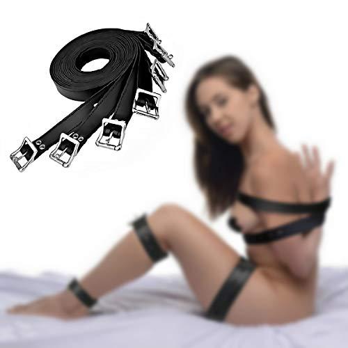adsf 7Pcs Black Under Bed Restraint Gürtel Bondage Body Kit Spielzeug für Paare