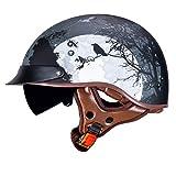 VCOROS Retro Motorcycle Open Face Helmet Sun Visor Quick Released Buckle DOT Approved Half Face Helmets for Men Women Motorbike Cruiser Chopper Moped Scooter Helmet (Dark Night, M)