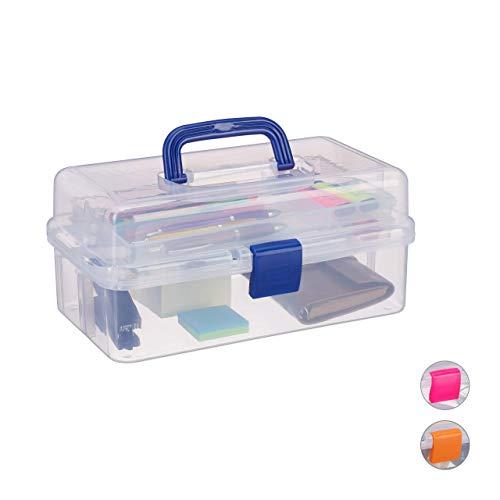 Relaxdays Scatola Trasparente Plastica, 9 Scomparti per Oggetti Piccoli, Maniglia per Trasporto, Chiusura A Scatto, Blu, 14 x 33 x 19,5 cm ca.