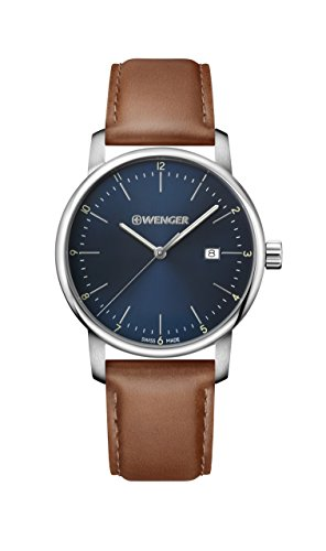 Wenger Men's Urban Classic Stainless Steel Quartz Watch with Leather Calfskin Strap, Brown, 22 (Model: 01.1741.111)