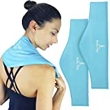 Arctic Flex Neck Ice Pack - Cold Compress Shoulder Therapy Wrap - Cool Reusable Medical Freezer Gel Pad for Swelling, Injuries, Headache, Cooler - Flexible Hot Microwaveable Heat - Men, Women (2 Pack)