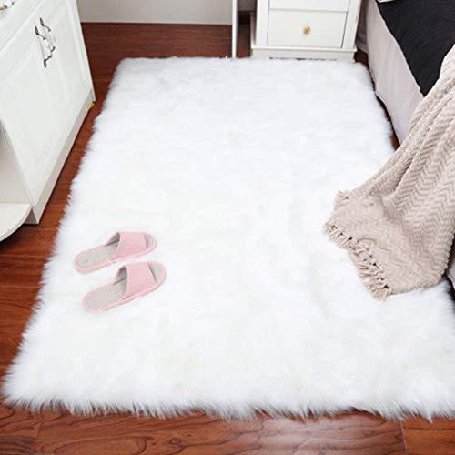 DAOXU Piazza 90 x 60 cm Tappeto Faux Fur Morbido soffice Tappeto Peloso Faux Montone Tappeto Tappeto Tappeto Soggiorno Camera da Letto Decorazione (90x60cm, Bianco)