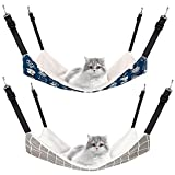 2 Pieces Reversible Cat Hanging Hammock Soft Breathable Pet Cage Hammock with Adjustable Straps and Metal Hooks Double-Sided Hanging Bed for Cats Small Dogs Rabbits (Cat and Plaid, M)