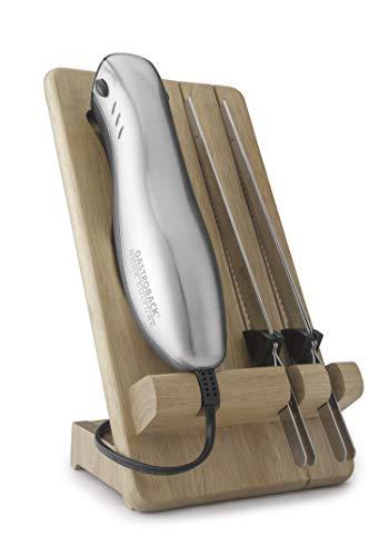 Gastroback 41600 Home Culture-Design Elektro Messer, INOX-Touch-Gehäuse, 120 Watt, inkl. Multischnitt-und Wellenschliffklinge, Metall, Silber