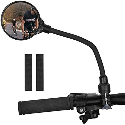 KANGBUKE Bike Rear View Mirror, 360Adjustable Rotatable Bending Wide Angle Rear View Mirrors for E-Bike MTB Cycling Road Bike - Cyclists Safety with Gasket, Easy Install
