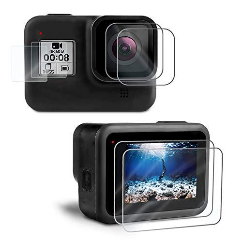 Kupton [6Pezzi] Pellicola Salvaschermo compatibile con GoPro Hero 8 Black Salvaschermo in Vetro Temperato Migliorata Pellicola per Obiettivo in Vetro Temperato con HD Protezione schermo piccolo