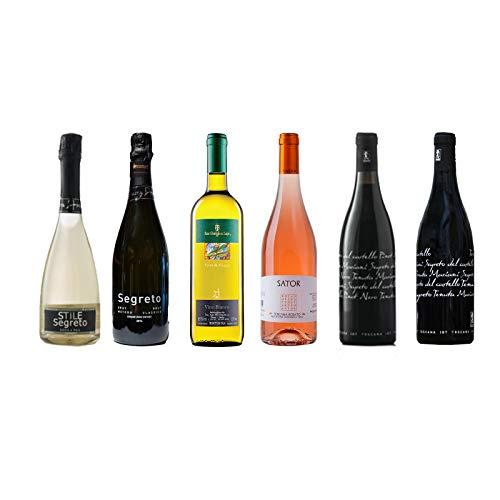 Box Degustazione Vini Toscana - Spumante Metodo Classico Bianco Rosato e Rosso Pinot Nero - 6 Bottiglie 0,75 L - Idea Regalo