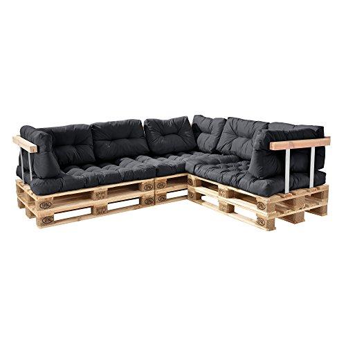 [en.casa] Divano Paletta Euro-sof - a 5 posti con Cuscino - [Grigio Scuro] Set Completo incl. bracciolo e Schienale