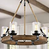 LALUZ Farmhouse Chandelier, Wagon Wheel Chandelier, 6-Light Kitchen Island Lighting with Seeded Glass Shade for Dining Room, Kitchen, Living Room