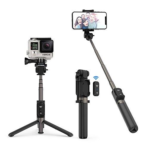 TaoTronics Selfie Stick Treppiedi per Gopro 4-in-1 Bluetooth 3.0 Bastone Selfie con Telecomando Estensibile Treppiedi in Alluminio Batteria Ricaricabile per Smartphone Android/iOS iPhone 11/X/8/7/6
