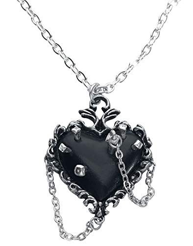 Alchemy Gothic Witches Heart Women Necklace Silver-Coloured, Pewter, (Jewellery)