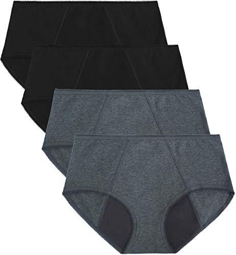 TUTUESTHER - Bragas menstruales para mujer, antifugas, de algodón, absorbentes 2 negros/2 gris. 40