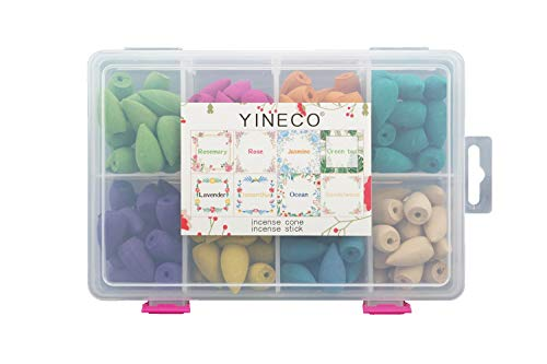 YINECO 140PCS 8 Mixed Natural Scents Backflow Incense Cone Gift Package Ideal for Spa Yoga Meditation, Aromatherapy