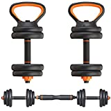 Gnpolo Free Dumbbells Weights Set 4 Multifunctional Barbell Kettlebells Push Up Stand
