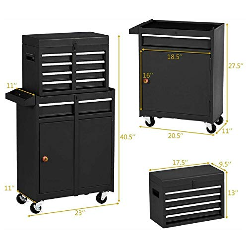 Product Image 2: Compact Tool Box Chest Combo 5 Drawer Mechanic Tool Box Small Heavy Duty Rolling Tool Chest on Wheels Tool Cabinet Organizer with Lockable Drawers Tool Chest Black