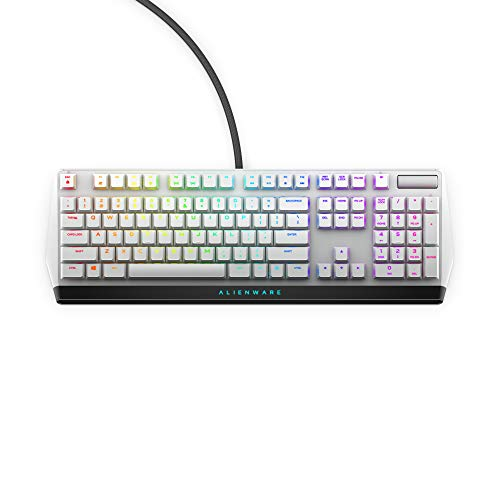 Alienware Low-Profile RGB Gaming Keyboard AW510K Light, Alienfx Per Key RGB Lighting, Media Controls and USB Passthrough, Cherry MX Low Profile Red Switches, Lunar Light