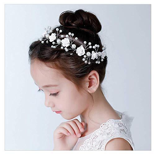 IYOU Fascia per capelli con fiore bianco Diadema di perle Accessori per capelli prima comunione Copricapo da sposa con perle per ragazze e damigella d'onore