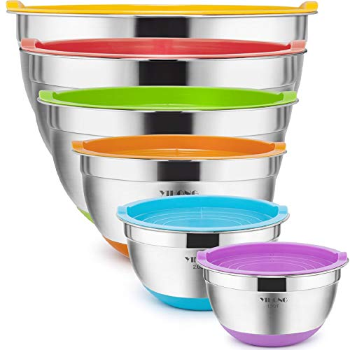 6 Pcs Stainless Steel Mixing Bowls with Lids,YIHONG Metal Nesting Mixing Bowls Set for Mixing, Baking,Serving,Food Prep, Size 7, 5, 4, 3, 2, 1.5QT, with Colorful Non-Slip Bottoms