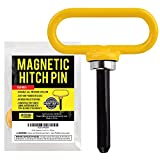 Yellow Magnetic Hitch Pin - Lawn Mower Trailer Hitch Pins - Ultra Strong Neodymium Magnet Trailer Gate Pin for Simple One Handed Hook On & Off - Securely Hitch Lawn & Tow Behind Attachments