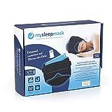 mysleepmask Bequeme Baumwoll Schlafmaske, L/XL | Für absolute Ruhe und Dunkelheit, 2 Taschen für Gelpads | Schaumstoffpolster für Ohren [Inkl. 2xGelpads, 2x Ohrstöpsel, Kopfumfang ca. 59 -63 cm]