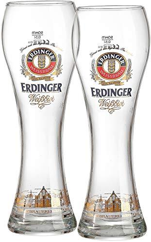 Keine Angabe Erdinger 690729 - Set di 2 Bicchieri da Birra Chiara, 0,5 l