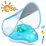 LAYCOL Baby Swimming Float Inflatable Baby Pool Float Ring Newest with Sun Protection Canopy,add Tail no flip Over for Age of 3-36 Months (Blue, L)