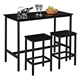 "SUPERJARE Bar Table Set with 2 Bar Stools, 47.2"" Pub Dining Height Table Set, 3 Pieces Kitchen Counter Set, Vintage Industrial Furniture for Living Room - Black"