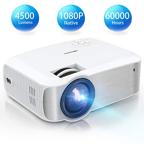 TOPVISION Heimkino Beamer, Native 1080P Mini Beamer Full HD, 4500 Lumen Video Projektor mit Maximalem 240\'\' Display, 60000 Stunden Lampenlebensdauer, Kompatibel mit HDMI/VGA/USB/AV/TV-Stick/PS4 usw