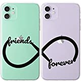 Mertak TPU Couple Cases for Apple iPhone 11 Pro Max Xs Xr X 10 8 Plus 7 6s SE 5s Symbol Infinity Loop Boyfriend BFFs Flexible Girlfriend Aesthetic Line Lightweight Silicone Stylish