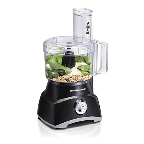 Hamilton Beach 8-Cup Compact Food Processor & Vegetable Chopper for Slicing, Dicing, Mincing, and puree, 450 Watts, Black (70740)