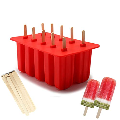 Xmifer BBM01 Popsicle Molds Food Grade Silicone Frozen Ice Cream Maker with Wooden Sticks, Red
