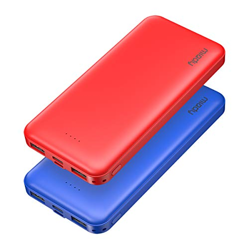 2-Pack Miady 10000mAh Dual USB Portable Charger, Fast Charging Power Bank with USB C Input, Backup Charger for iPhone X, Galaxy S9, Pixel 3 and etc (Red & Blue)