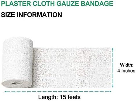 """Plaster Gauze Bandage for Hobby Craft, Masks, Scenery, Belly Cast - 4"""" x 180"""" (5yd) Gauze Bandage Roll (12 Pack)"""