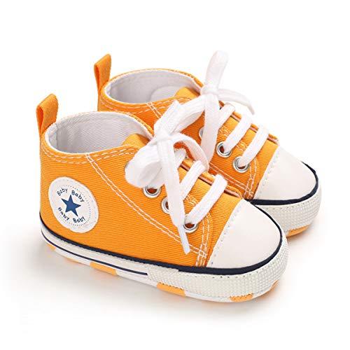 DEBAIJIA Bebé Primeros Pasos Zapatos de Lona12-18M NiñosAlpargata Suave Antideslizante Ligero Slip-on 20 EU Oscuro Amarillo (Tamaño Etiqueta-3)