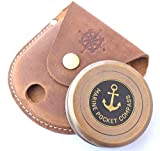NEOVIVID Robert Frost Poem Engraved Brass Compass with Leather Case, The Road Not Taken Compass