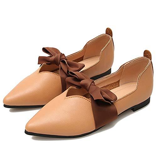 Yhjmdp - Zapatos simples para mujer, diseño de pajarita, puntiagudo, nudo, zapatillas planas para maternidad, color marrón