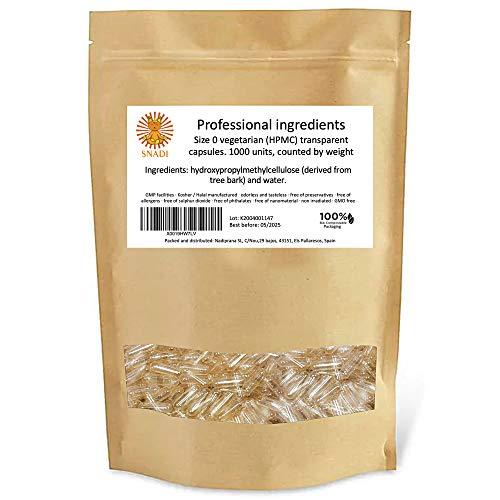 """Capsule vegetali vuote - Taglia """"0"""" - 1000 pezzi. Capsule vuote trasparenti confezionate in bustine 100% biodegradabili."""